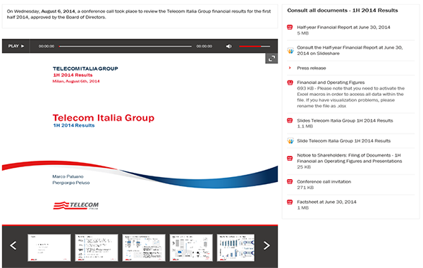 Telecom Italia – 2Q 2014 Results