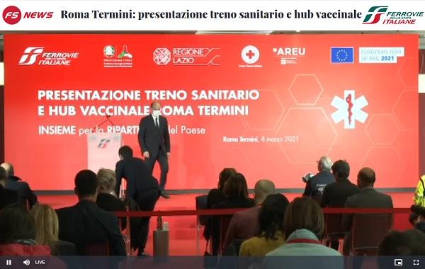 Presentazione treno sanitario FS e hub vaccinale Roma Termini